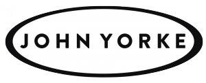 John yorke story logo black text on white with black oval border