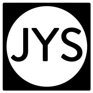 John yorke story JYS logo black font on white circle logo