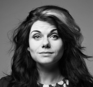 A headshot of caitlan moran in black and white