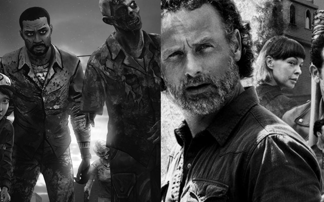 A montage of The Walking Dead TV show and video game